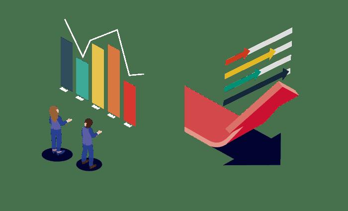 データを分析し上上昇させているビジネスマンのイラスト