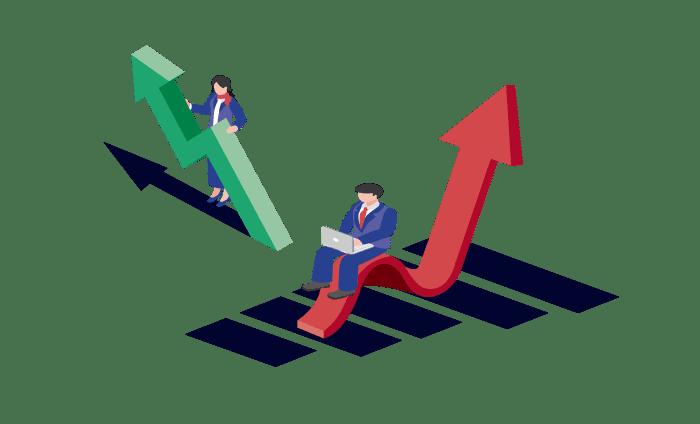 上昇の矢印とビジネスマンのイラスト