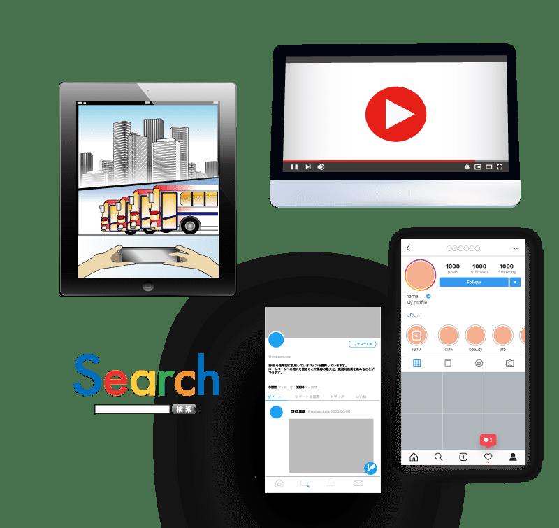 ウェブ漫画と動画と検索エンジンとSNSのイラスト写真